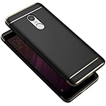 "funda Xiaomi Redmi Note 4 cover , Leathlux Ultra Delgado Anti-Arañazos Protección Duro Carcasa Enchapado protectora de parachoques trasero 3 En 1 case para Xiaomi Redmi Note 4 5.5"" (Negro)"