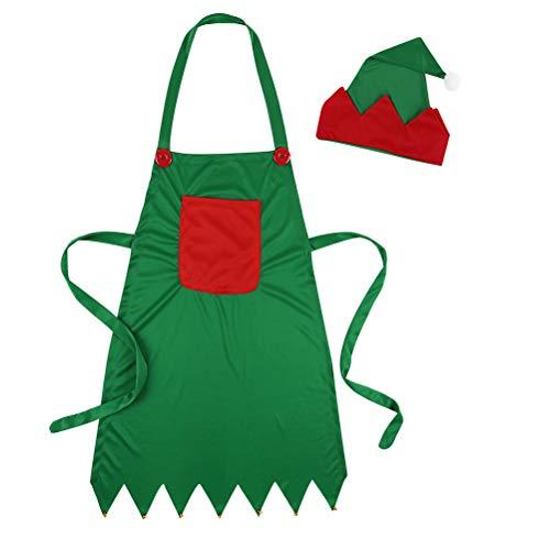 Peahop Delantal navideño Delantal Gorro Elfo Cocina