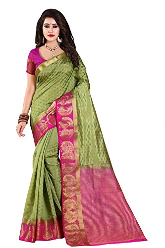 Nirja Creation Cotton Silk Saree (NC-OD-MOR-02_Green_Free Size)