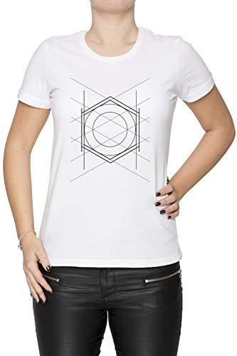 Geometrisch Muster Damen T-Shirt Rundhals Weiß Kurzarm Größe XS Women's White T-Shirt X-Small Size XS -