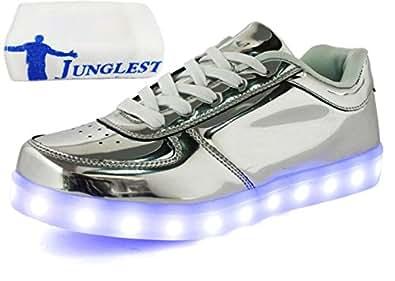 (Present:kleines Handtuch)Silber EU 45, Trainer Luminous Sports Schuhe 7 LED Leuchten mode Schuhe Ladegerät Turnschuhe USB Herren Paar