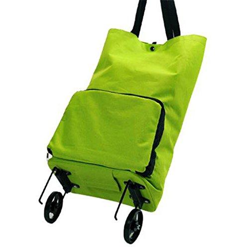 AZHom Tragbare zusammenklappbare Einkaufstasche Einkaufswagen Schlepper Einkaufstasche Grüne Einkaufstasche