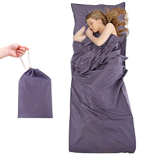 Tepsmigo sacco lenzuolo, sacco a pelo, saccolenzuolo, 100% di cotone lenzuola a sacco da viaggio campeggio sacco letto adulti sacchi a pelo (colore 1)