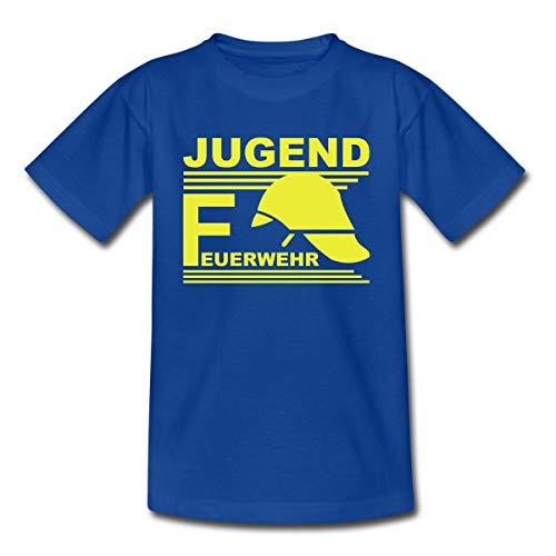 Spreadshirt Jugend Feuerwehr Helm Teenager T-Shirt, 152/164 (12-14 Jahre), Royalblau - Helm Kinder T-shirt