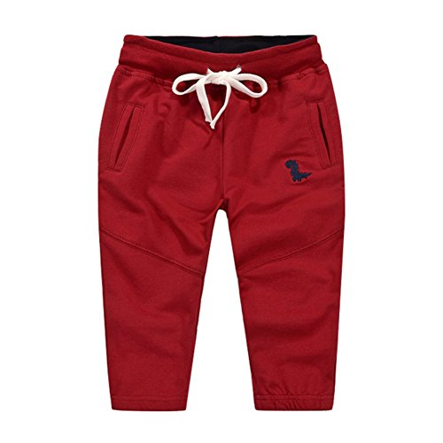 Loveble Little Kids Boys Spring/Summer/Autumn Cotton Plain Causal Sports Full Length Pant Age 1-10 Years(Red)