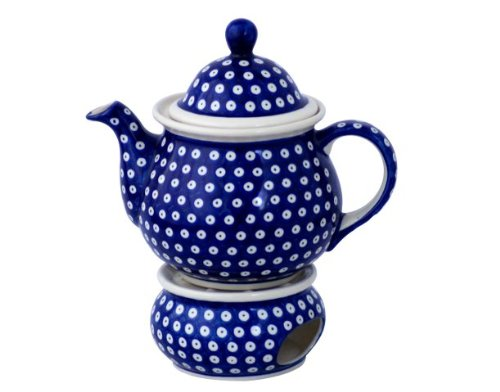 Boleslawiec Pottery Teapot 1.7 L with Warmer, Original Bunzlauer Keramik, Decor 42