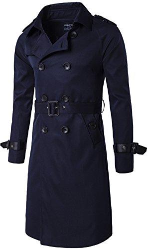 YYZYY Herren Zweireihiger Lässiger mit Gürtel schlank Langer Mäntel Jacken Trenchcoat (EU/DE X-Small, Navy blau) -