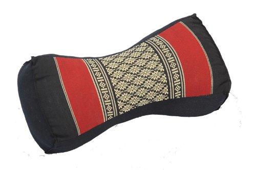 Thaikissen Nackenkissen 30x15x10 schwarz-rot Kissen mit Füllung aus Kapok Massagekissen