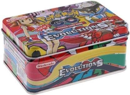 Pokemon Evolutions Trading Card Game Cards in Metal Box with 3 VIP Cards Combo  (Multicolor)