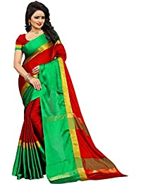 High Glitz Fashion Women's Red & Green Color Poly Cotton Sari With Blouse Piece