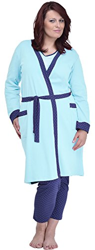 Merry Style Robe de Chamber en Grande Femme Taille 484 Turquoise