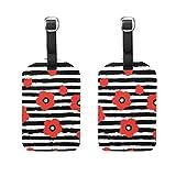Luggage Tags Red Poppy Flowers Floral Black White Stripes Paquete de 2 Tarjetas de Visita para Maletas de Viaje
