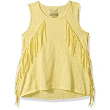 Calvin Klein Big Girls' Solid Fringe Tank, Yellow Heather, X-Large