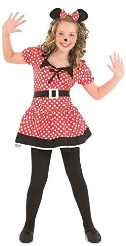 Mädchen Kinder Kinder Fräulein Minnie Maus Disney Kostüm Kleid Outfit - Rot/schwarz, 6-8 ()