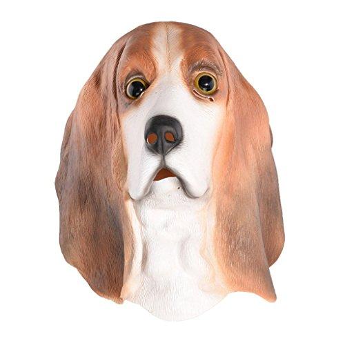 Kostüme Hund Halloween Labor (Auspicious beginning Labrador Hund Latex Kopf Maske Neuheit Fancy Kleid Kostüm Tier)