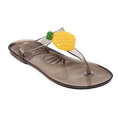 zhENfu Donna pantofole & flip-flops Comfort PU molla informale comfort grigio nero Flat Gray