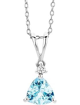Miore Damen-Halskette mit Anhänger 9 Karat (375) Weißgold Aquamarin und Brillant