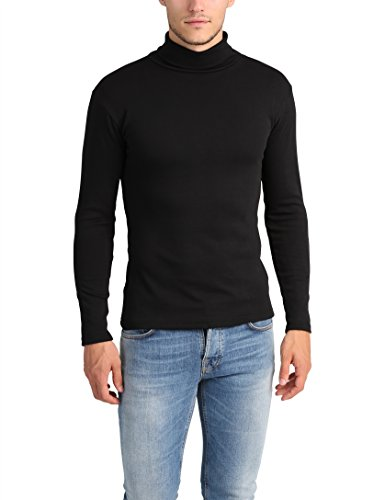 Lower East Herren Slim Fit Rollkragen Rollkragenpullover,Schwarz (Schwarz - 1er Pack),Medium