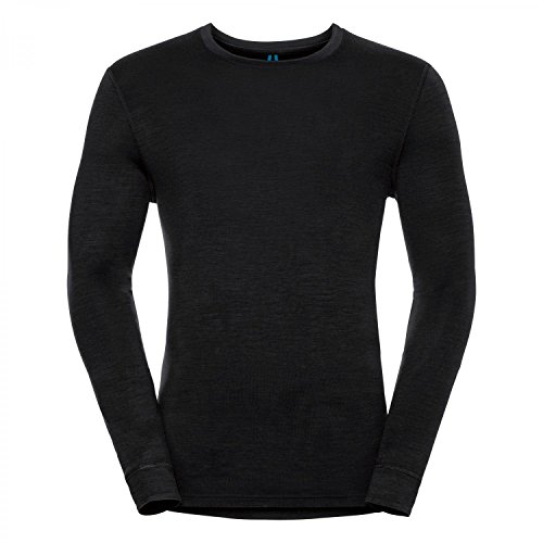 Odlo Herren Natural 100 Merino Warm Baselayer Shirt T-Shirt, Grey Melange-Black, L