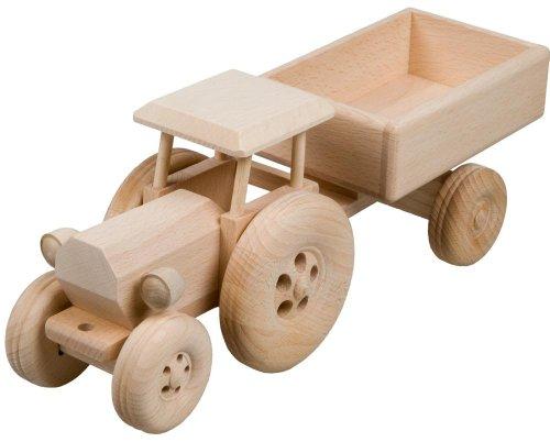 Hofmeister Holzwaren, Trecker mit Anhänger, Spielzeug Auto Kinder, oder, Dekoration, aus Buchenholz L340xB95xH130 mm, 30464