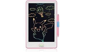 NEWYES 10-Zoll-LCD-Schreibtablett Bunte Anzeige Elektronischer Notizblock für Kinder und Erwachsene - Rosa