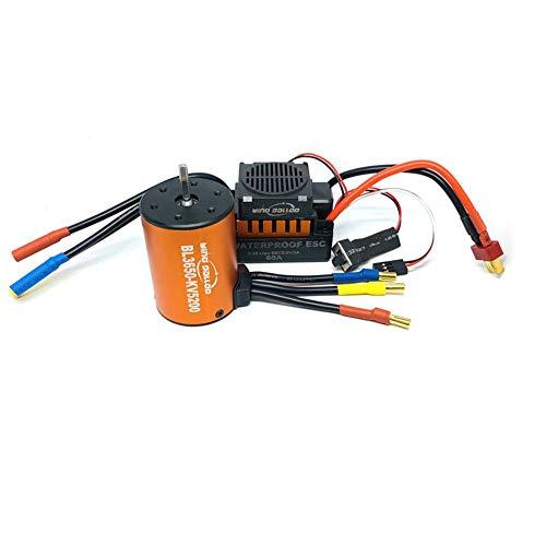 rebirthesame Ferngesteuertes Auto, Wind Galopp 60A Wasserdicht Brushless ESC + BL3650 3900KV 4300KV 5200KV Brushless Motor (4.0 Banana Head) Orange