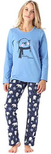 Merry Style Mädchen Jugend Schlafanzug MS10-192 (Blau Bär, 158)