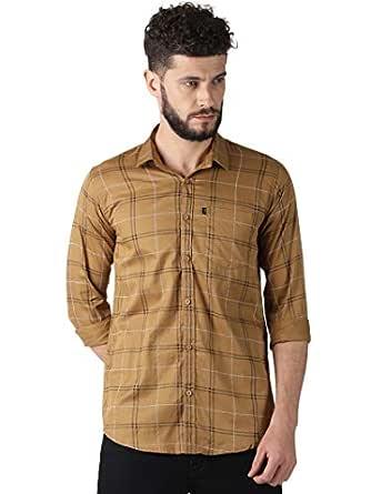 LEVIZO Men's Checkered 100% Cotton Casual Classic fit Full Sleeves Shirt Clay Medium