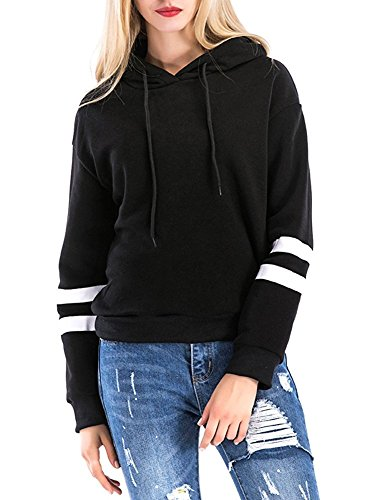 clasichic Women Hoodies Jumper Sweatshirt, Warm Striped Hooded Pullover Tops For Autumn Winter Spring Long Sleeve With Hood (Black, M(UK 12-14))