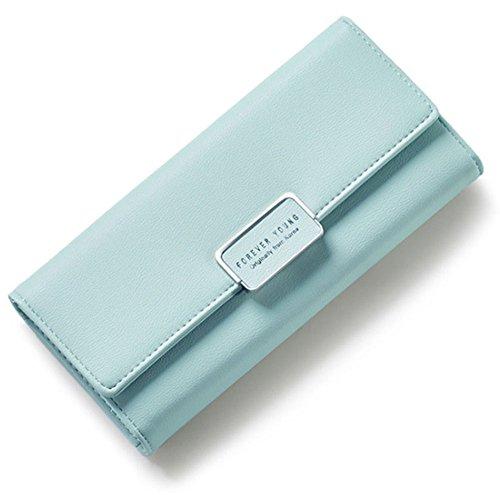 Portafoglio Donna, WEICHEN Blocco RFID Grande capacità Lunga Elegante Borsa delle signore PU genuino Cera di lusso Porta Monete Carte di Credito e Identità-Rosa chiaro Verde chiaro