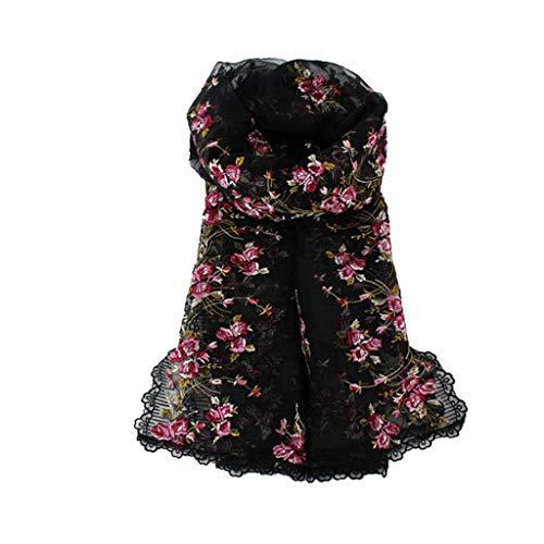 Duoer home sciarpa ricamata a mano da donna rosa floreale stola abito da primavera e da autunno cheongsam scialle, stola sciarpa avvolgente (color : black)