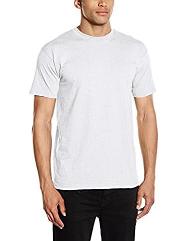 Fruit of the Loom Men's Super Premium Single Regular Fit Round Collar Short Sleeve T-Shirt, Ash Grey,