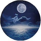 """Tappetino per mouse rotondo in gomma antiscivolo cielo notturno pioggia di stelle dal cielo scuro notturno Luna piena sopra le nuvole Scenario decorativo blu scuro e bianco 7.9""""x7.9""""x3MM"""