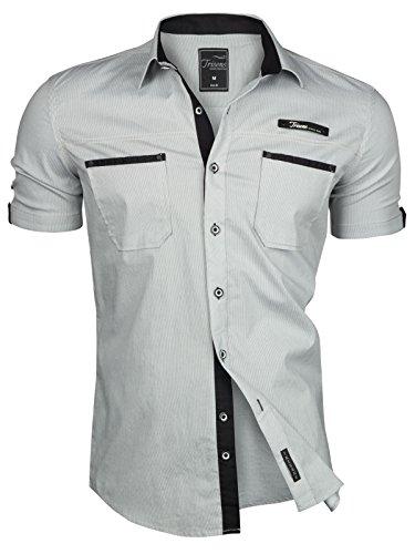 Trisens Herren Hemd Kurzarm GESTREIFT Slim FIT Sommer Baumwolle Polo Style Cotton, Farbe:Hellgrau, Größe:L