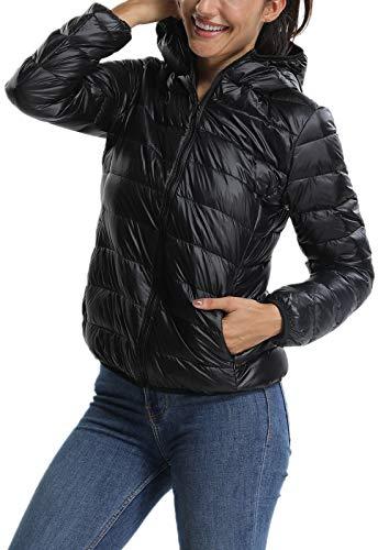 Fittoo piumino donna con cappuccio giacca trapuntata mezza stagione cappotto corto invernale, nero, xl