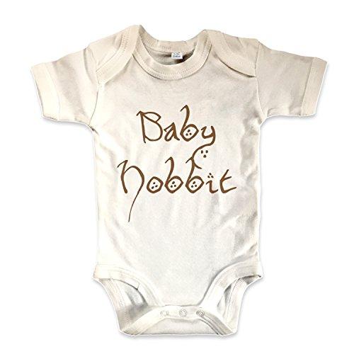net-shirts Organic Baby Body mit Baby Hobbit Aufdruck Spruch lustig Strampler Babybekleidung aus Bio-Baumwolle mit Zertifikat inspired by Herr der Ringe, Größe 6-12 Monate, natur (Größe 6 Ringe)