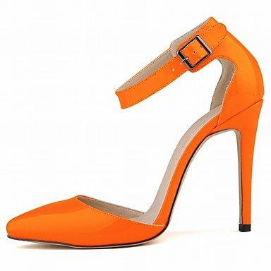 Moda Donna Sandali Sexy donna tacchi Comfort estivo brevetto Casual in pelle Stiletto Heel BuckleBlack / blu / giallo / verde / verde Orange