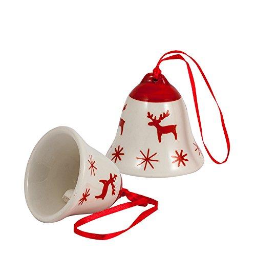 Colour-Bags Home & Living Weihnachts-Glöckchen/Christbaumschmuck, Größe 5,5 cm Höhe x 5,5 cm Durchmesser, Design Elch in rot aus Dolomit - für DE ab EUR 29,00 -