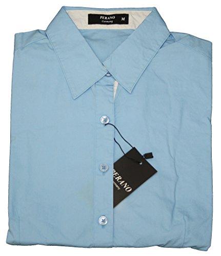 102-13 Dames Mesdames Blouse Body Manches Longues Solide Coloré Noir Bleu Blanc Rouge S M L XL XXL bleu clair