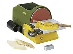 Proxxon Tellerschleifgerät TG 125/E (Schleifteller 125 mm, Tisch verstellbar, mit Winkelanschlag, mit Schraubzwinge, Anschluss für Absauganlage) 27060