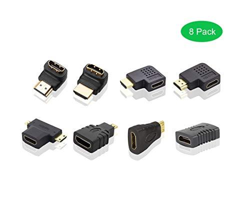 ADWITS HDMI Converter Adapter-Koppler-Set,[8er Pack] 270 180 90 Grad flach vertikal horizontal HDMI Typ A auf B zu C auf D einstellen, Schwarz A/c-adapter-set