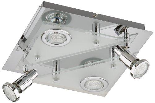 Briloner LED Deckenleuchte, Deckenlampe, Deckenspot, 4 x LED GU 10, 3 Watt, 250 Lumen, eckig, Strahler dreh- und schwenkbar, chrom 3529-048 -