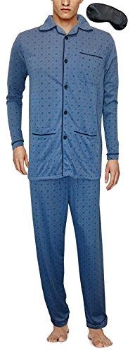 i-Smalls Männer Traditionelle Muster Flanell Weicher Baumwolle Pyjama Set mit Schwarzer Augenmaske Hellblau