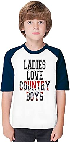 Ladies Love Country Boys Funny Slogan Soft Material Baseball Kids T-Shirt by Benito Clothing - 100% Organic, Hypoallergenic Cotton- Casual & Sports Wear - Unisex for Boys and Girls 5-6 years