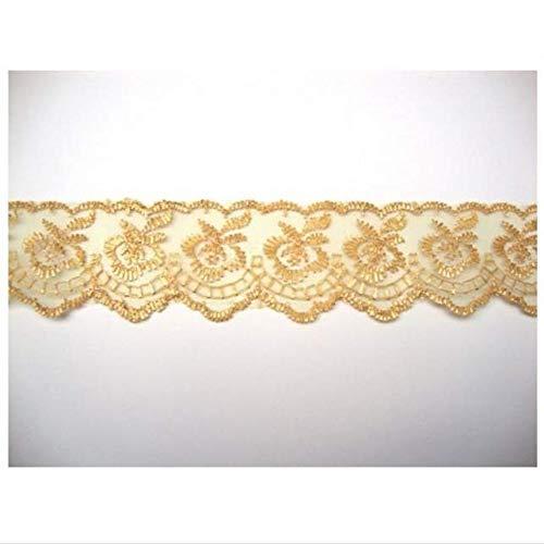 10 Yards Spitzenband mit floralem Spitzenbesatz, DIY Handwerk Nähen Applikation DIY Dekoration Handwerk (Gold) Floral Gold Trim