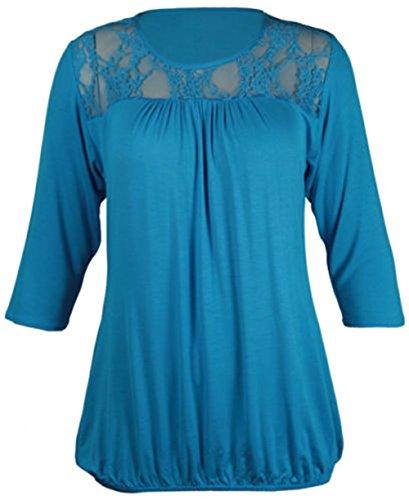 NEU Damen Blumenmuster Spitze Ausschnitt 3/4Kurze Ärmel Gerüscht Geraffte Stretch T-Shirt Trim Top Plus Größe Türkis