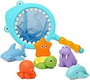 Mumoo Bear 7Pcs Baby Bath Toys, Scoop Net Fish Pool Toys with Spray, Sounds, Color Changing Toddler Bathtub To