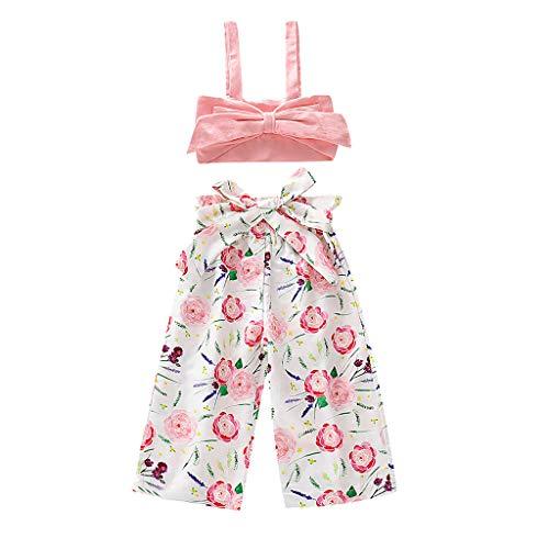 Big, Kinder, Mädchen, Rosa Trikot (iHAZA Kinder Ärmellos Gurt Einfarbig Bogen Tube Oben Heiligenschein Weste Top + BlumeDrucken Hosen Set)
