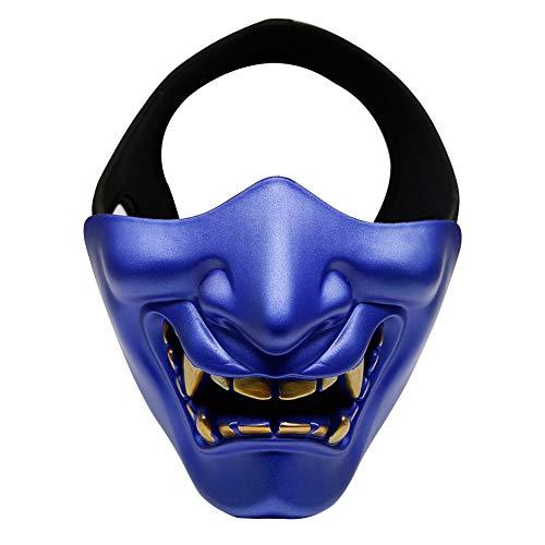 Blue Samurai Kostüm - Airsoft Half Face Masks, Masken des Bösen Dämonenmonsters Samurai Masquerade Ball, Party, Halloween, CS War Game,Blau