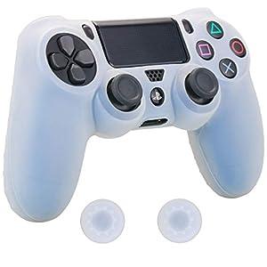 Pandaren® Silikon hülle skin Schutzhülle für PS4 controller (weiß) x 1 + thumb grip aufsätze x 2